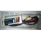 Шнур 3*RCA(тюльпан) штекера - 3*RCA(тюльпан) штекера 1.2м (пластик-никель) D3x2,6мм APH-124c-1.2