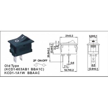 Клавиша малая  2 конт.  КСD1 - 603AB1 BBA1C черная оптом