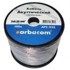 Акустический кабель 2x0.35мм.кв. 100м (прозрачный с синей полосой) APC-032