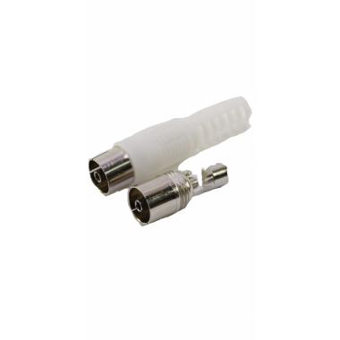 ТВ(PAL) гнездо,на кабель RG6/U,винт-обжим (белый пластик-никель) APP-228_W оптом