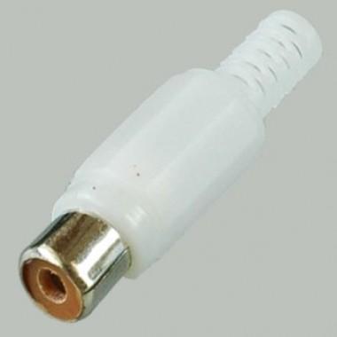 RCA(тюльпан) гнездо,на кабель 3.2мм, (белый пластик-никель) APP-090_W оптом