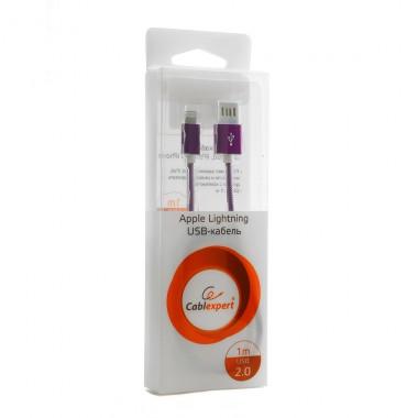 Кабель USB 2.0  для iPhone Cablexpert , AM/Lightning 8P, мультиразъем USB A, арм. оплетка,фиолетовый металлик, блистер, 1 м оптом