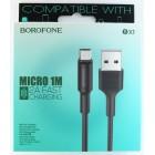Кабель Borofone BX1 USB (m)-microUSB (m) 1.0м 2.0A силикон,черный