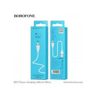 Кабель Borofone BX17 USB (m)-microUSB (m) 1.0м 2.0A силикон,белый оптом