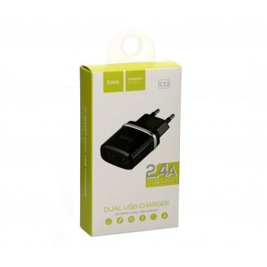 Сетевое зарядное устройство HOCO C12 2USB 2.4A ,черный оптом