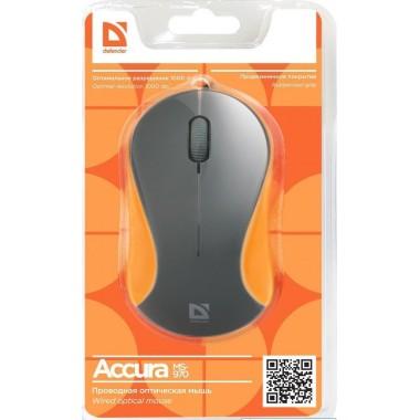 Мышь проводная Defender MS-970 Accura классическая USB серый,оранжевый оптом