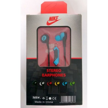 Наушники NIKE stereo earphones HS-51 в упаковке(с кнопкой ответа),синие оптом