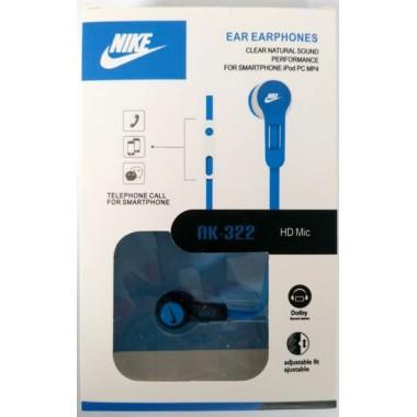 Наушники NIKE NK-322 в упаковке(с кнопкой ответа),синие оптом