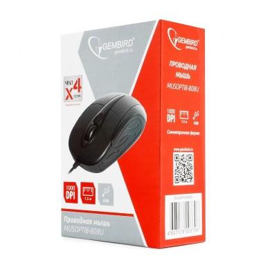 Мышь проводная Gembird MUSOPTI8-808U, USB, черный, 2кн.+колесо-кнопка, 1000DPI оптом
