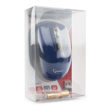 Мышь беспроводная Gembird MUSW-400-B, 2.4ГГц, синий, бесшумный клик, 3 кнопки+колесо-кнопка, 1600 DPI, батарейки в комплекте, блистер оптом