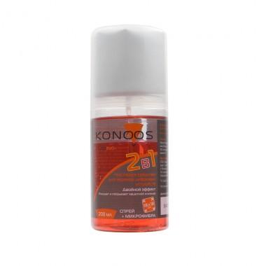 Набор Konoos для ЖК экранов(спрей 200 мл+салфетка) с силиконом,двухкомпонентный оптом