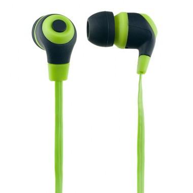 Наушники Perfeo RUBBER,зеленые с черным оптом