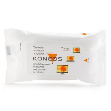 Чистящие салфетки Konoos для ЖК экранов,уп 15 шт. оптом