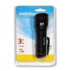Фонарь Smart Buy алюминиевый,1 LED,3Вт,3AAA, черный
