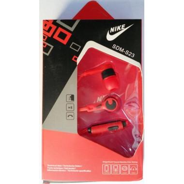 Наушники NIKE SPORT SDM-S23  в упаковке  (с кнопкой ответа) Красные оптом