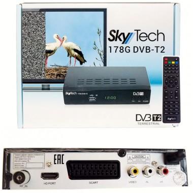 "SKYTECH 178G DVB-T2(дисплей,кнопки ""CH+"",""CH-"",""ON/OFF"";HDMI,SCART, RCA, AUDIO R/L,RF IN, RF LOOP,металл) оптом"