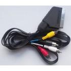 Шнур СКАРТ штекер - 4*RCA(тюльпан) штекера 1,5 м (пластик-никель) Аудио Стерео-Вх/вых, Видео-Вх/вых